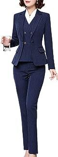 Women's Three Pieces Stripe Blazer Suit Slim Office Lady Business Set Blazer Jacket,Pant/Skirt
