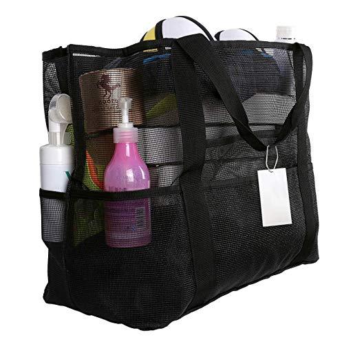 EXTSUD Extra Große Reisetasche Strandtasche Sand Spielzeug Aufbewahrungstasche Faltbare Handtaschen Netztasche Picknicktaschen für den Sommer Strand Shopping für Familie Urlaub 70x37x18cm (Schwarz)