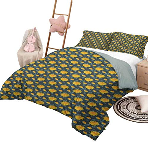 Daybed Quilt Set Flower for Boys and Girls Yellow Chrysanthemum Blossoms on Dark Backdrop Natural Ornament Queen Size Charcoal Grey Orange Yellow