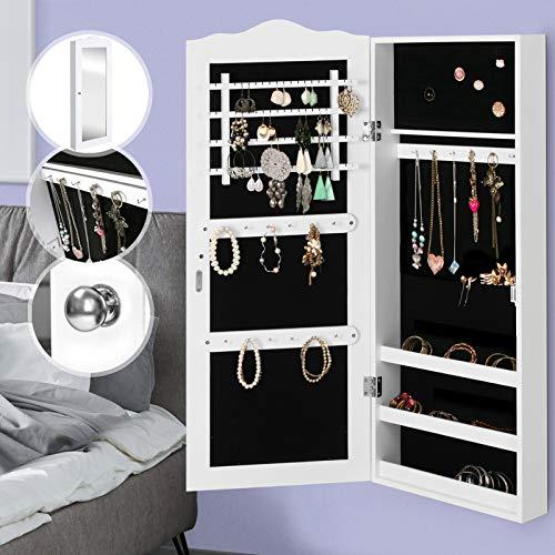 MIADOMODO Schmuckschrank mit Spiegel - 96 x 35 x 9 cm, hängend, Wandmontage, Weiß - Schmuckregal, Schmuckkasten, Schmuckaufbewahrung, Schmuckorganizer, Spiegelschrank