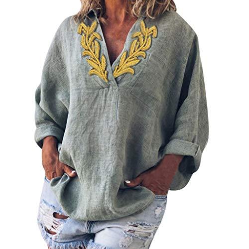 LEEDY Camiseta Verano para Mujer con Cuello En V Y Estampado De Lino De AlgodóN De Color SóLido Camisa Informal Holgada