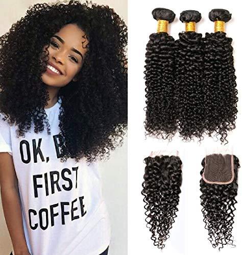 Brazilian Haarverlängerung Echthaar Tressen 300G Mit Closure Lace Menschliches Locken Natürlich Haar 20 22 24 zoll und 18 zoll Lace Closure Kinky Curly Hair With Baby Hair
