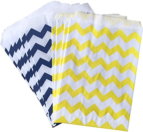 Outside the Box Papers Chevron Treat Sacks 5.5x 7.5 48 Pack Yellow, White, Navy Blue