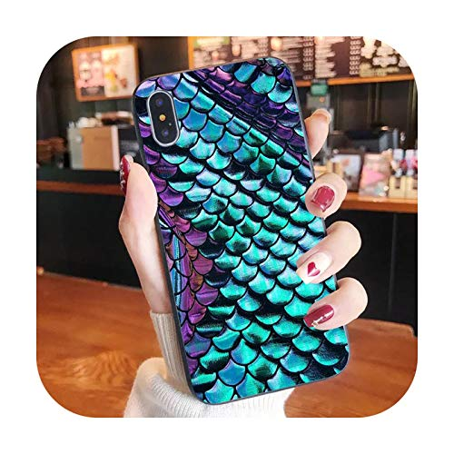 Sirena pez niña teléfono caso para iPhone XR X 8 7 6 plus moda lindo cubierta Apple XS 11 Pro Max SE2020-Mermaid3-iphone 6 6s