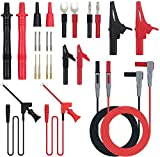 Multi Test Leads Kit, 24-in-1 Electrical Multimeter Test Lead with Alligator Clips, Test Probe, Spring Grabber,Banana Plug - Volt Meter Leads for Voltage Circuit Tester