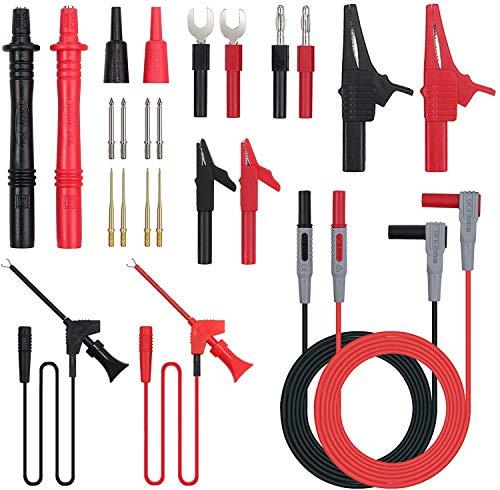 Multimeter Messleitungen Kit, 24-in-1-Elektro-Multimeter-Testkabel mit Krokodilklemmen, Testsonde, Federgreifer, Bananenstecker - Voltmeter-Kabel für Spannungskreistester