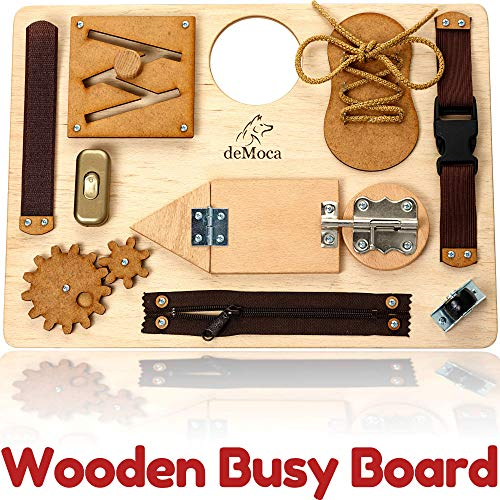 Montessori Busy Board for Toddlers - Wooden Montessori Toys for Toddlers 3 Years - Travel Toy with Educational Activities and Fine Motor Skills Activity Buckle Toy for 2 3 Years Old Boys and Girls