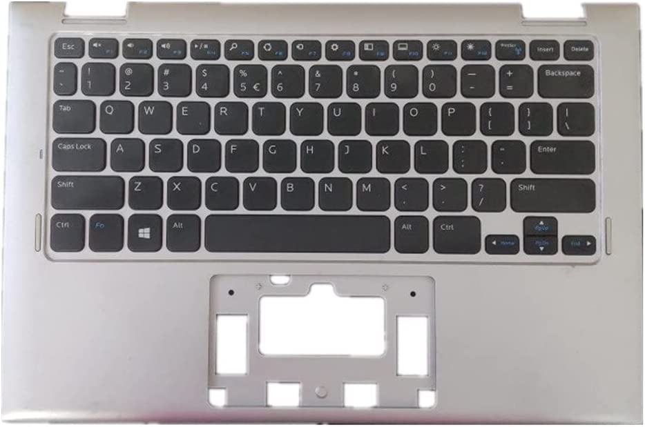 Laptop Upper Case Cover C Shell & Keyboard for DELL Inspiron 3147 Silver US English Layout