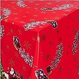 TEXMAXX Wachstuchtischdecke Wachstischdecke Wachstuch Tischdecke abwaschbar (134A) - 180 x 140 cm - PVC Tischdecke abwischbar, Weihnachten Weihnachtsmann in Rot