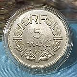 Francia,5 Francos,Monedas Conmemorativas,Antigüedades,Colecciones,Alta Calidad,Mejores Regalos,Exquisitos,1936,1937,1939,Desgastados Artesanía/C/Paridad