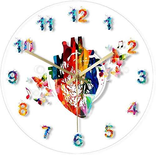 NIUMM Orologio da Parete Heart Design Anatomy Acquarello Pittura Stampa Acrilico Orologio da Parete Studio Medico Art Decor Orologio Cardiovascolare Orologio da Parete Silenzioso Facile da Leggere