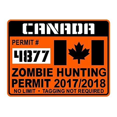 A/X Autoaufkleber 16,3 x 12,3 cm Mode Kanada Zombie Jagdgenehmigung Aufkleber Auto-Styling Retro-reflektierender Autoaufkleber C1-8027