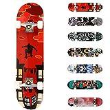 WeSkate Completo Skateboard 31'x8' 7 Capas Monopatín de Madera de Arce Skateboards con rodamientos ABEC-7 de 7 para...