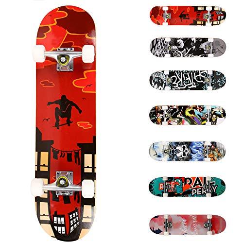 WeSkate Planche à roulettes pour Les débutants, 31 x 8'' Complète Skateboard 7 Plis Double Kick Concave Planche de Skate Anti-Dérapant Roues PU pour Les Enfants Jeunes et Adultes (Rouge)