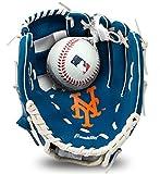 """Franklin Sports MLB Youth Teeball Glove and Ball Set - Kids New York Mets Baseball and Teeball Glove and Ball - Perfect First Kids Glove - 9.5"""""""