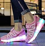 dhh Niños Niñas LED Luz Flash Zapatos De Roller Automática Ruedas Patines Al Aire Libre Gimnasia Zapatillas De Skateboard,Luminosas Flash Patines Sneaker,PinkSingleWheel-35