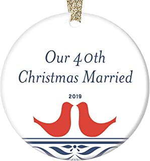 40 Years Married Mr & Mrs 2019 Christmas Ornament Collectible Gift Husband & Wife Pretty Ceramic Folk Art Decoration 40th Wedding Anniversary Present Celebration 3