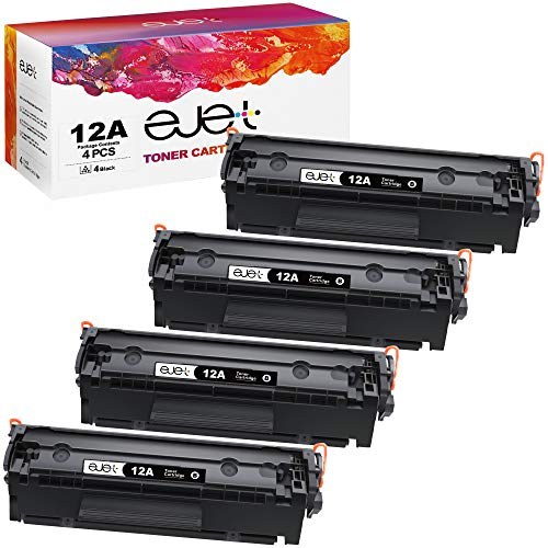 ejet Compatible Toner Cartridges Replacement for HP 12A Q2612A to use with Laserjet 1020 1012 1022 1018 1010 3015 3030 3050 3052 M1120 Printer (Black, 4-Pack)