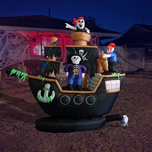 BZB Goods 7 Foot Halloween Inflatable Skeletons Ghosts on Pirate Ship Lights Decor Outdoor Indoor Holiday Decorations, Blow up Lighted Yard Decor, Giant Lawn Inflatables Home Family Outside Decor