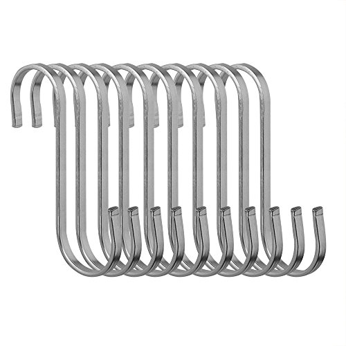Honbay 10 Pcs Stainless Steel S Hooks Kitchen Cooking Utensils Spoon Pan Pot Hanging Hooks Hangers