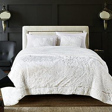 Chanasya Super Soft Shaggy Longfur Throw Blanket | Snuggly Fuzzy Faux Fur Lightweight Warm Elegant Cozy Plush Sherpa Fleece Microfiber Blanket | For Bed Couch Living Bed Room - King - White