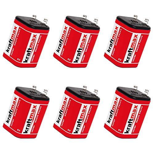 6x Kraftmax 4R25 Batterie Block - 6V / 9500mAh ( 9,5 AH ) - 6 Volt Hochleistungs- Blockbatterie für z.B. Baustellenleuchte / Baustellenlampe / Blinklampe/ Handscheinwerfer - 6 Stück