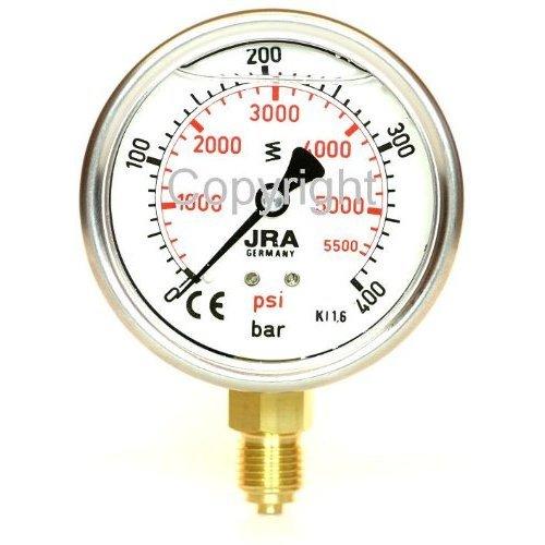"""JRA-Longlife Glyzerin Manometer 0-400 bar/psi NG63 Anschluss unten G1/4"""""""