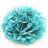 ipalmay 10unidades varios colores papel de seda pompones 8'bolas de flores para sembrar decoraciones de fiesta de cumpleaños, turquesa, 8 Inch( 20cm )