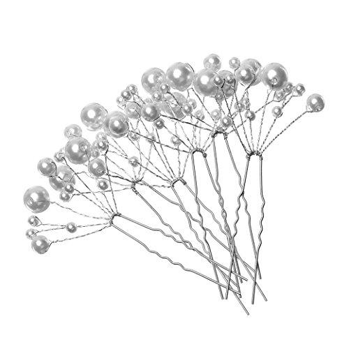 6-Pack Witte Parel Bruids Haarspelden, Bruids U-Vormige Inzetkam Parelplaat Haar vork Haarspeld voor Bruidsmeisje Sieraden Bruiloft prom Accessoires