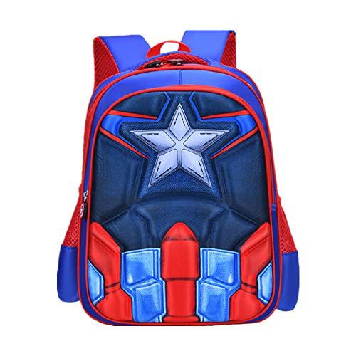 Zaino Capitan America per Bambini Zaino per Studenti Zaino per Bambini Supereroi Zaino Regolabile per Libro di Scuola Materna