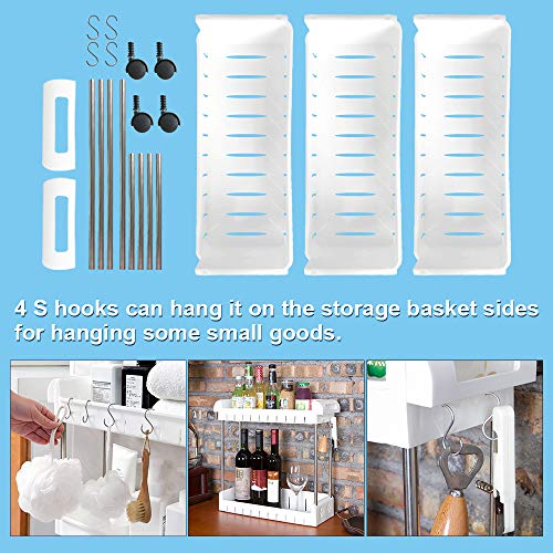 Aogist 3 Tier Slim Storage Cart Mobile Shelving Unit Slide Out Storage Tower for Kitchen Bathroom Laundry Room Narrow Places(White)