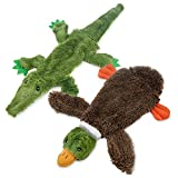 2-in-1 Fun Skin Stuffless Dog Squeaky Toy by Best Pet Supplies - Wild Duck & Alligator Bun...
