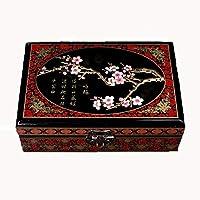JINHAN 鏡の中国の伝統的な手描きの宝石箱の宝箱の宝石類の宝石類の宝石箱の装飾的なジュエリーボックスを持つジュエリーケースのレトロなヴィンテージ木製の宝石箱の宝箱ジュエリーオーガナイザー ジュエリー収納ボックス (Color : B)