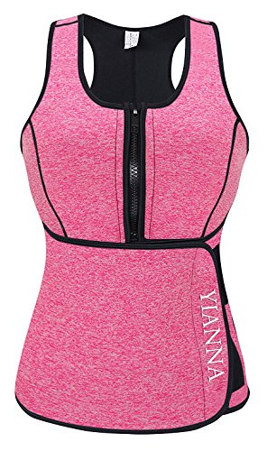 YIANNA Sweat Neoprene Sauna Suit - Waist Training Vest - Sauna Tank Top Vest with Adjustable Waist Trimmer/Shaper Trainer Belt for Weight Loss Plus Size up to 5XL, YA8012-New-Pink-XL