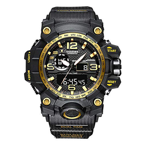 Reloj Militar para Hombre al Aire Libre Reloj de Pulsera Deportivo Impermeable Digital con Alarma Calendario recordatorio cronómetro para Camping Senderismo Aventura (Golden)