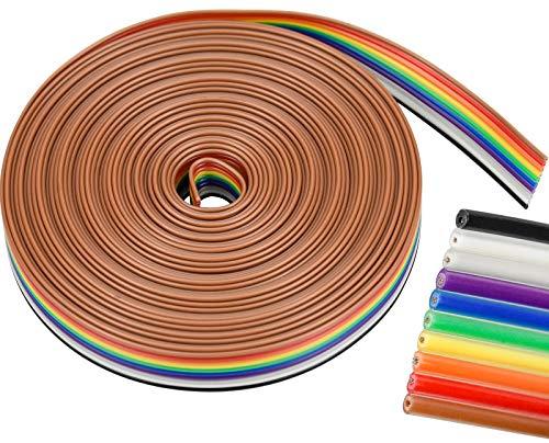 ZHENA Flachbandkabel 10 polig 6M, Flachbandkabel idc Draht 10 pin, Regenbogenfarben Flachband Draht Kabel für Raspberry Pi Breadboard Arduino
