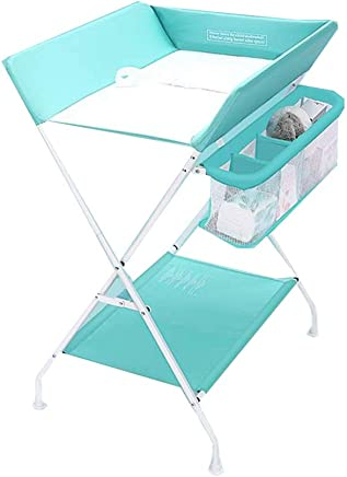 ZCF Baby change diaper Baby Changing Tables  Bath Dresser Station Babys Changing Table Unit Foldable Cross Leg Style with Convenience Storage Basket  Color Blue  Size 75x56x100cm