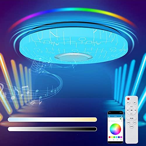 Plafoniera LED Soffitto Dimmerabile, 36W RGB Plafoniera Bluetooth Musicale Lampada con Telecomando e Controllo APP, Plafoniere per Soggiorno, Camera da Letto, Bagno, Camera dei Bambini, Ø33cm