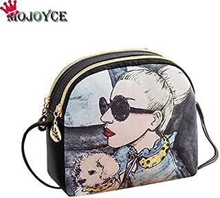 Gimax Top-Handle Bags - omen Canvas Handbag Cartoon Cat Printed Shoulder Bag Female Large Capacity Ladies Beach Bag Women PU Tote Shopping Handbags - (Color: Girl)