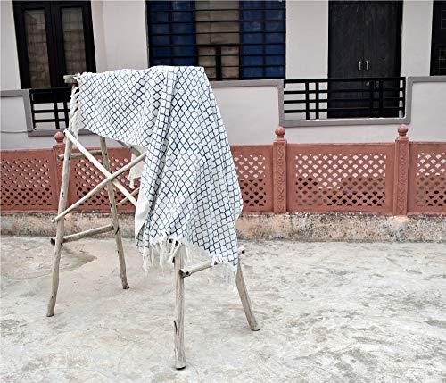 SHUBHARAMBH ENTERPRISES Handloom Schlammtuch Decke Boho Bett Dekor Blockdruck Sofa Couch Überwürfe Baumwolle Quasten Decken Ethno Handmade Picknick Decken