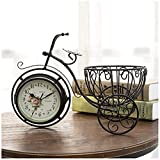 Reloj de escritorio Reloj de mesa pequeño Hogar Hierro Arte Reloj de mesa de bicicleta de tres ruedas Sala de estar de jardín Reloj de mesa silencioso de doble cara Adornos de regalo Reloj desper