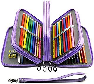 YOUSHARES 72 Slots Pencil Case - PU Leather Handy Multi-Layer Large Zipper Pen Bag with Handle Strap for Colored/Watercolor Pencils, Gel Pen, Makeup Brush, Small Marker and Sharper (Purple)