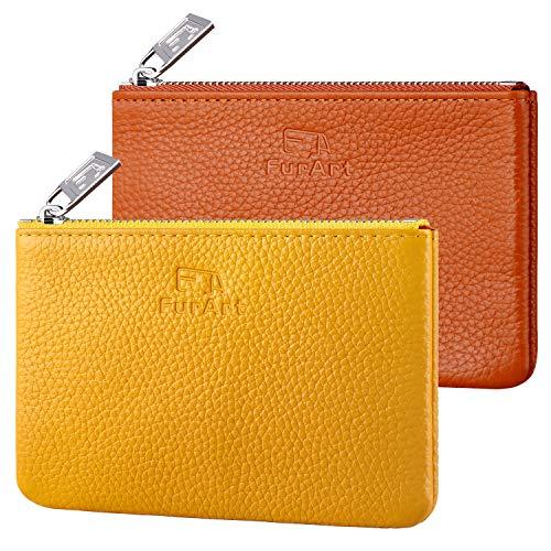 FurArt革小銭入れファスナーミニ 財布小さい 財布レディース&メンズ ソフトレザー小銭入れミニサイズ