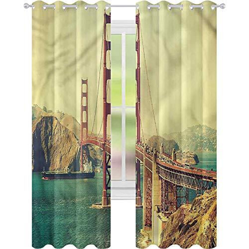 Cortinas opacas para dormitorio, estilo antiguo, vistas al puente, 42 x 72, cortinas decorativas para sala de estar