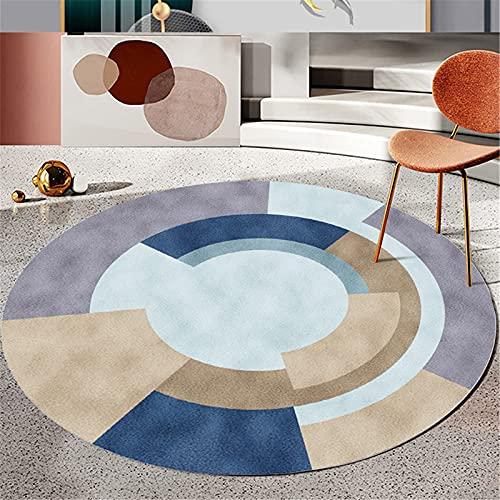 LBMTFFFF - Alfombra para casa, diseño geométrico nórdico, alfombra redonda para salón, mesa redonda suave y respetuosa con la piel, diámetro 60 cm