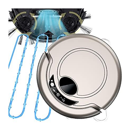 DSMGLRBGZ Robot Aspirapolvere Lavapavimenti, Sterzo Automatico Anticollisione Sensore Anticaduta Supera Una Pendenza di 15 Gradi, Non Causerà Ansia per Gli Animali Domestici,Metallico