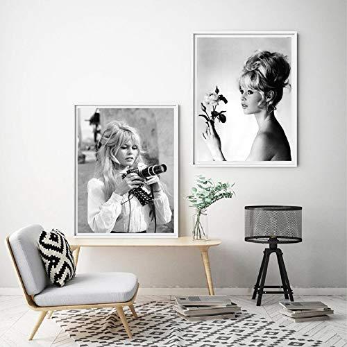 HGlSG Meisje met camera Zwart-wit Model Mode Decoratief schilderij Posters Slaapkamer Hangend schilderij Canvas schilderij Kamer Kinderen Slaapkamer Decoratie A2 60x80cm