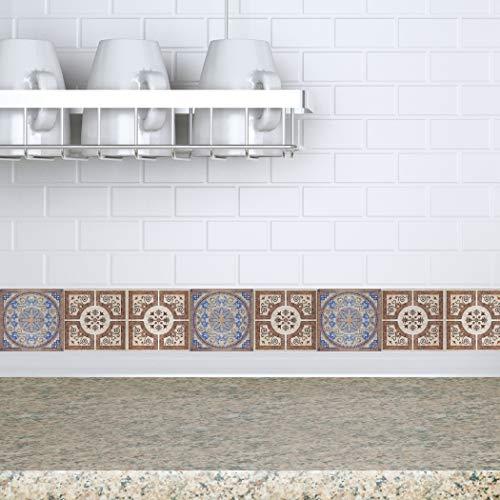 RoyalWallSkins Fliesenaufkleber 10,2 x 10,2 cm – Set von 16 – Selbstklebende Fliesenaufkleber zum Abziehen und Aufkleben für Backsplash Badezimmer Küche Zuhause Viseu Tad160530