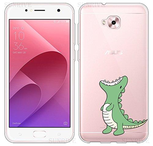 Sunrive Für Asus Zenfone Live Plus ZB553KL 5,5 Zoll Hülle Silikon, Transparent Handyhülle Schutzhülle Etui Hülle Backcover(TPU Dinosaurier)+Gratis Universal Eingabestift