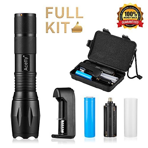 Acetty Led Flashlight Super Bright High Lumens?Adjustable Focus and 5 Modes Light with Rechargeable 18650 Lithium Ion Battery & Charger (6)